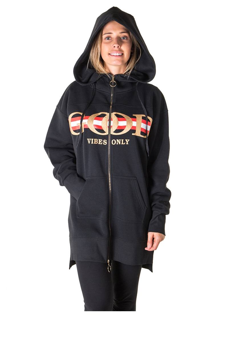 Ladies fashion fleece zip up sweatshirt oversize long hoodie outerwear jacket with applique
