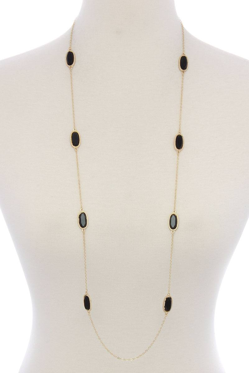 Oval shape stone long necklace