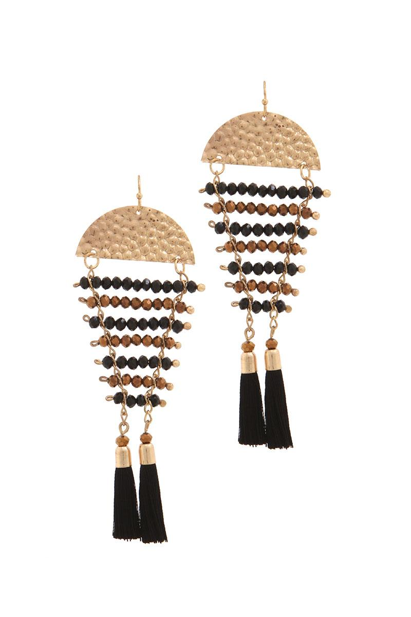 Hammered half circle beaded tassel drop earring