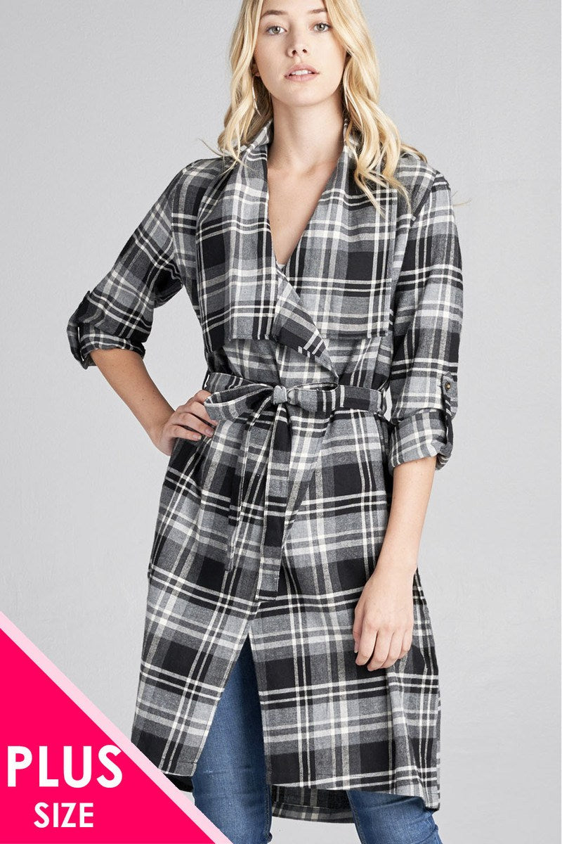 Ladies fashion plus size 3/4 roll up sleeve shawl lapel hand kerchiefef hem plaid woven jacket