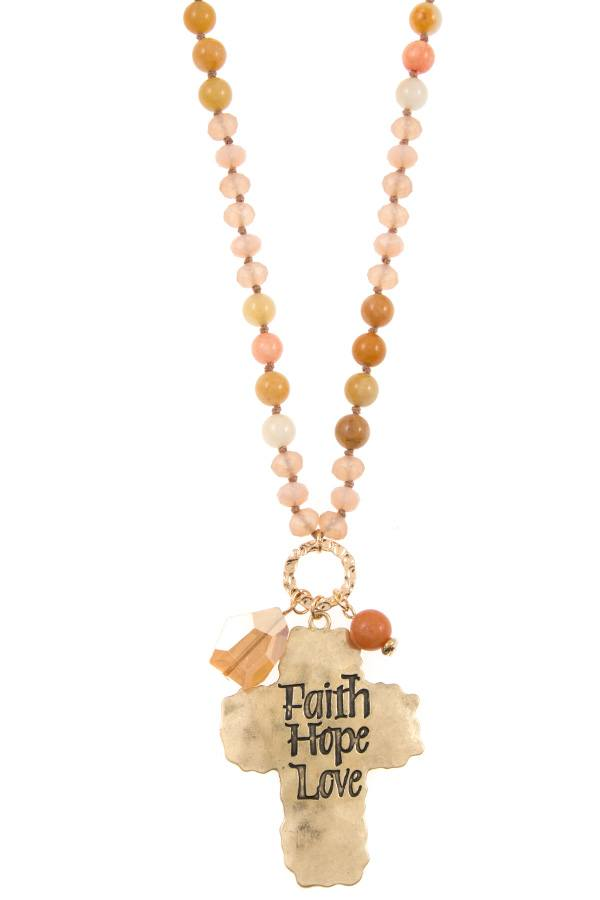Faith hope love etched cross bead necklace set