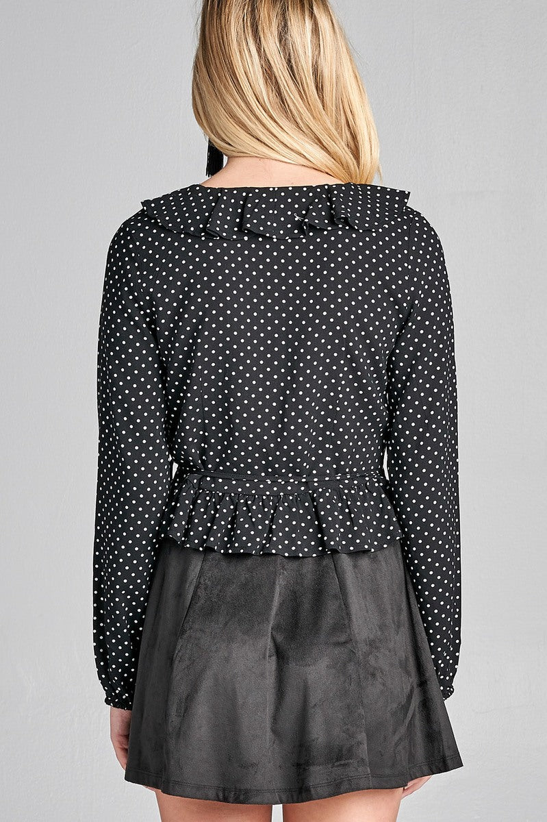 Ladies fashion long sleeve v-neck w/ruffle wrap side ribbon tie dot print woven top