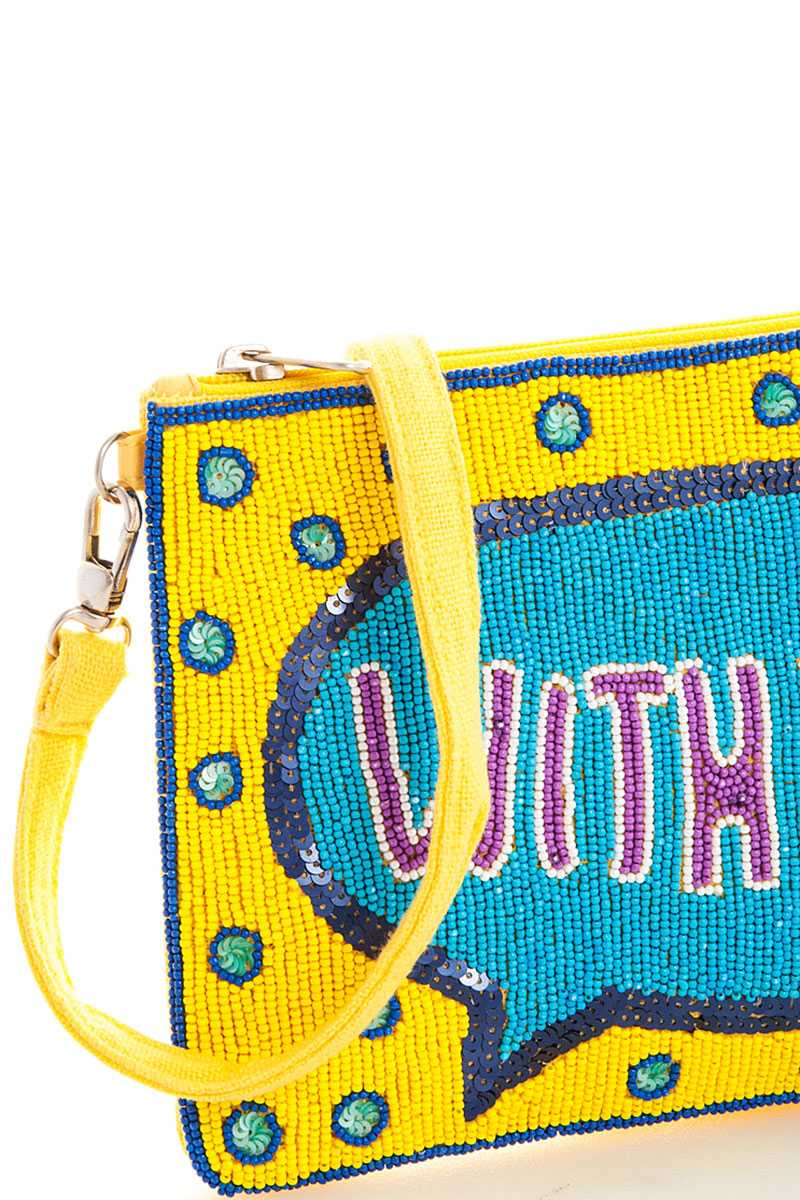 Spangle with you crossbody clutch with long strap