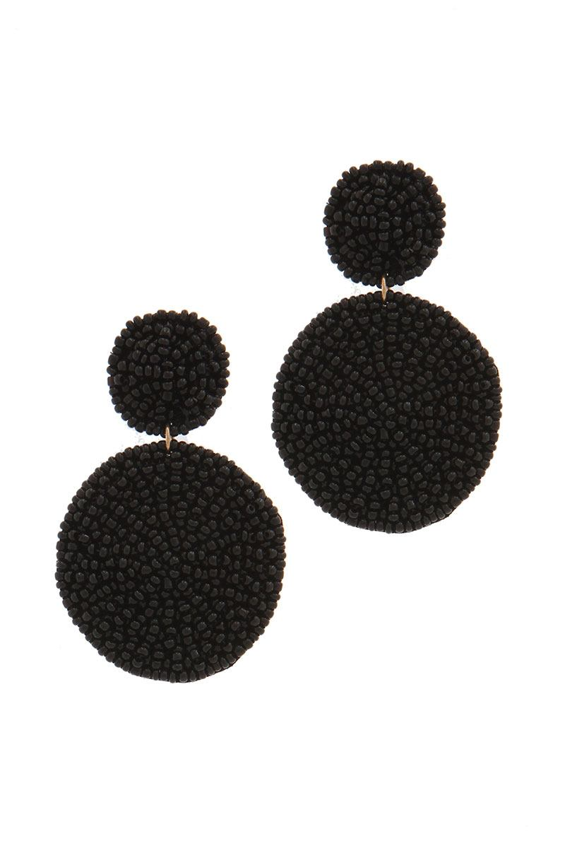 Circle linked seed bead post drop earring