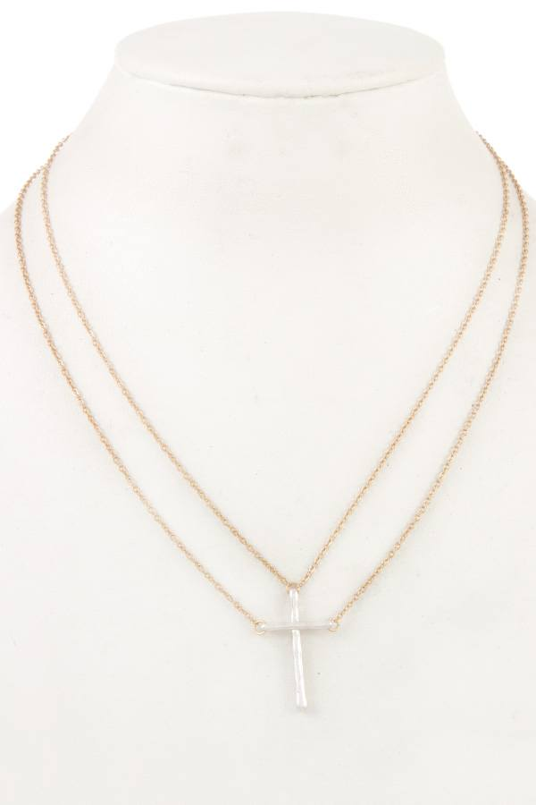 Double chain cross pendant necklace