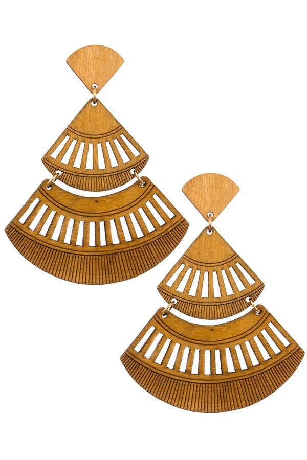 Tiered wooded cut out drop earring