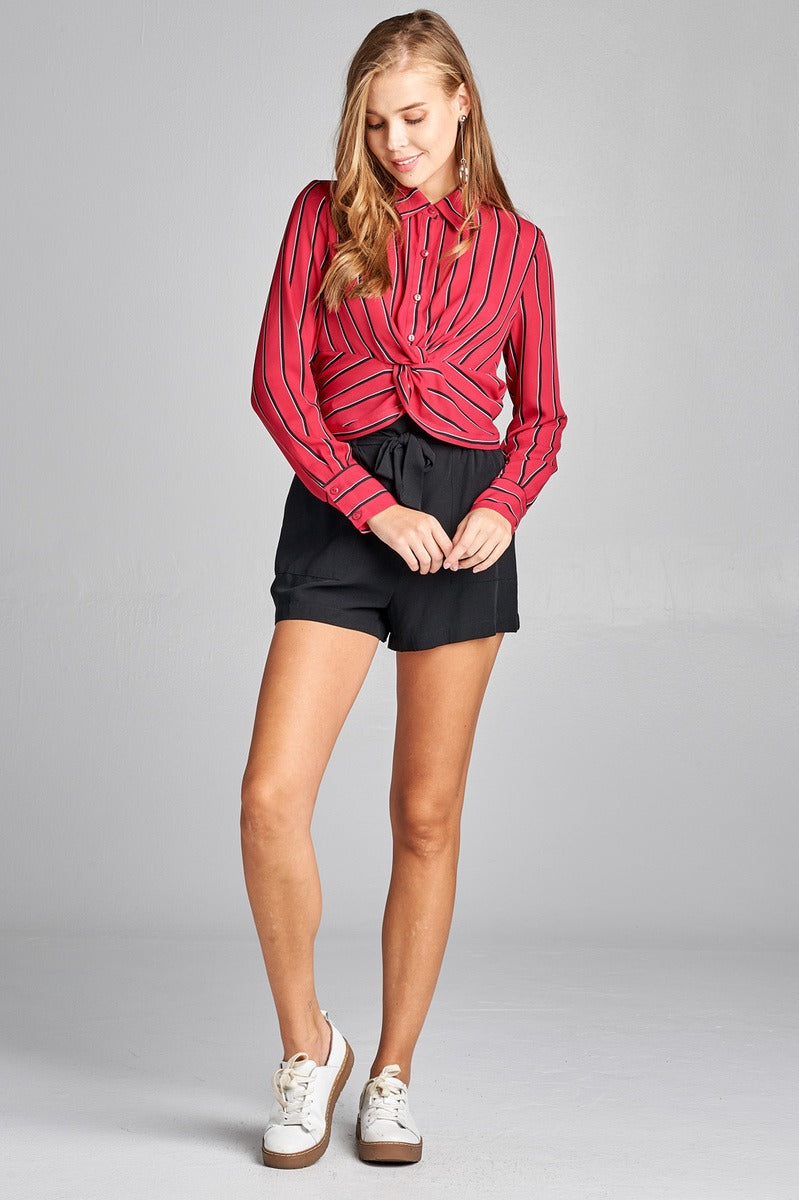 Ladies fashion long sleeve front button w/twisted detail stripe print woven shirt