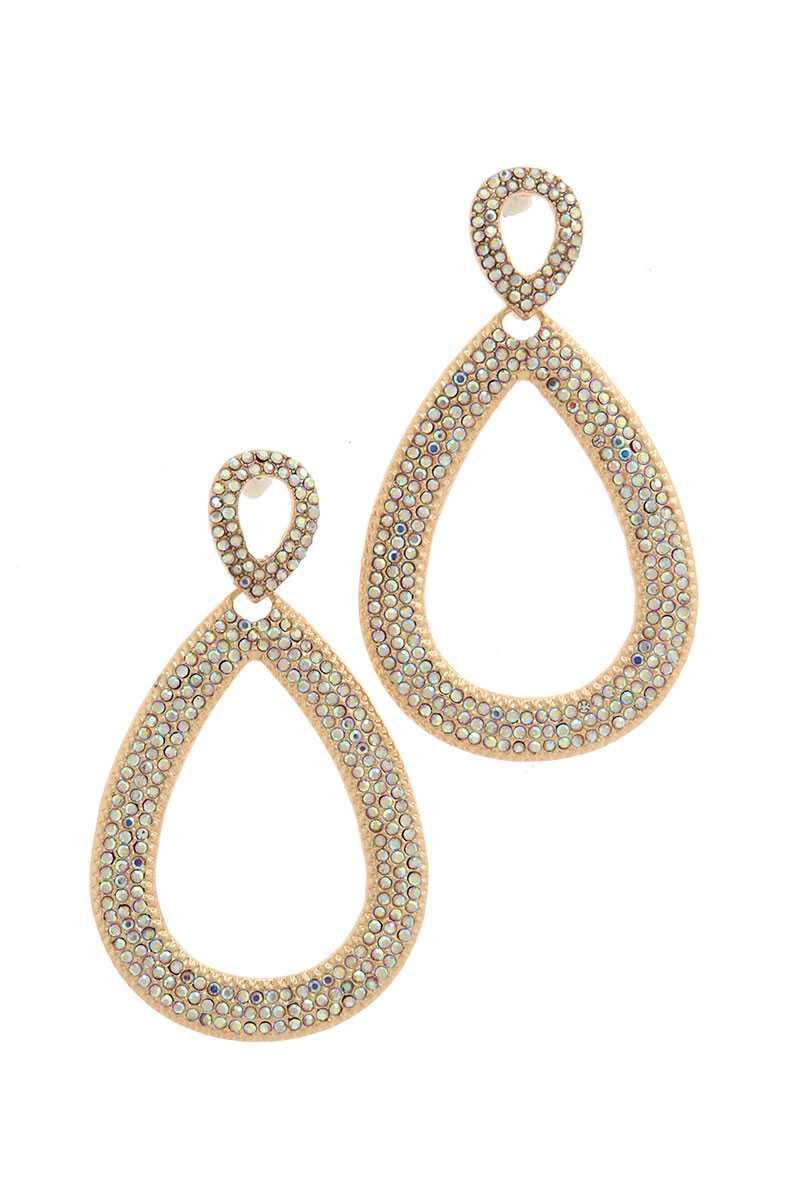 Double tear drop rhinestone shape post drop earring