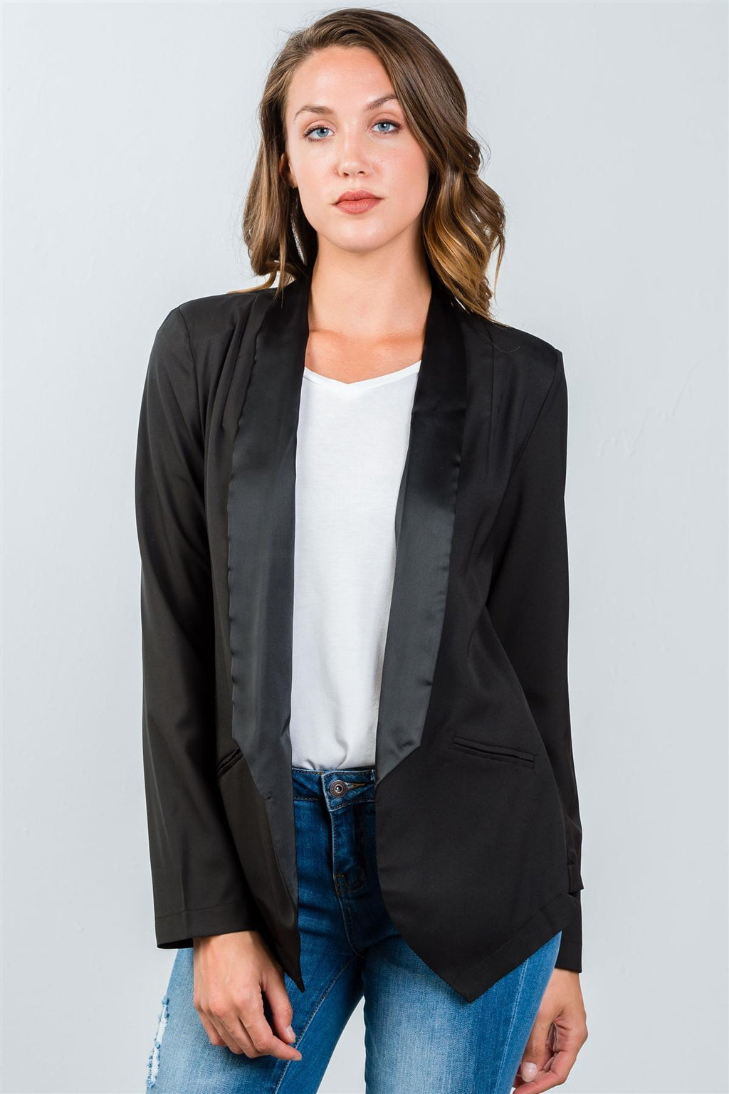 Ladies fashion black long angled open front blazer
