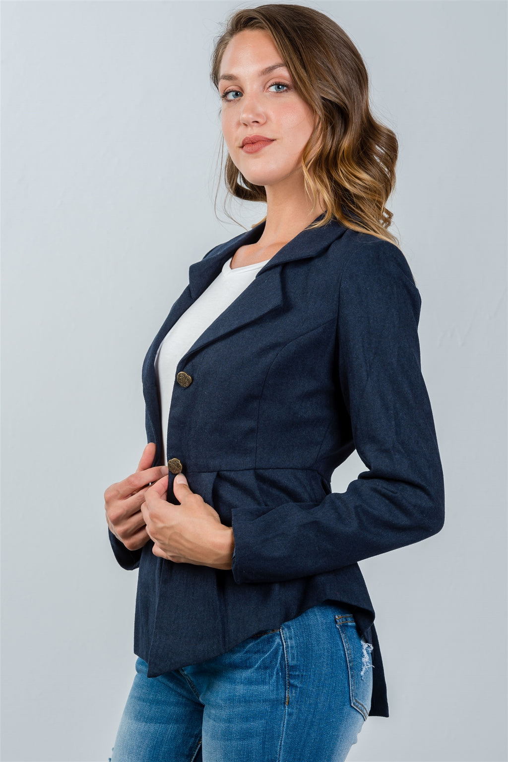 Ladies fashion navy pleated peplum hem jacket