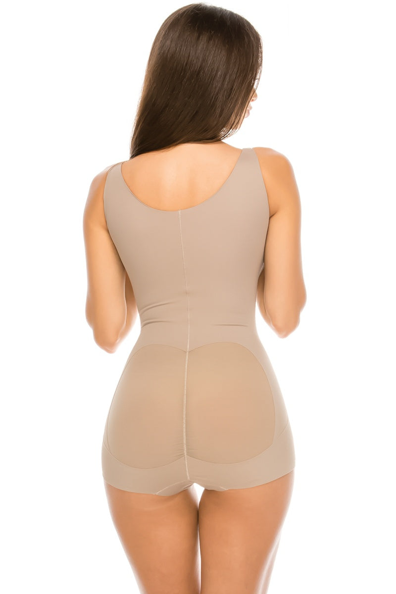 Ladies microfiber/mesh shaping bodysuit