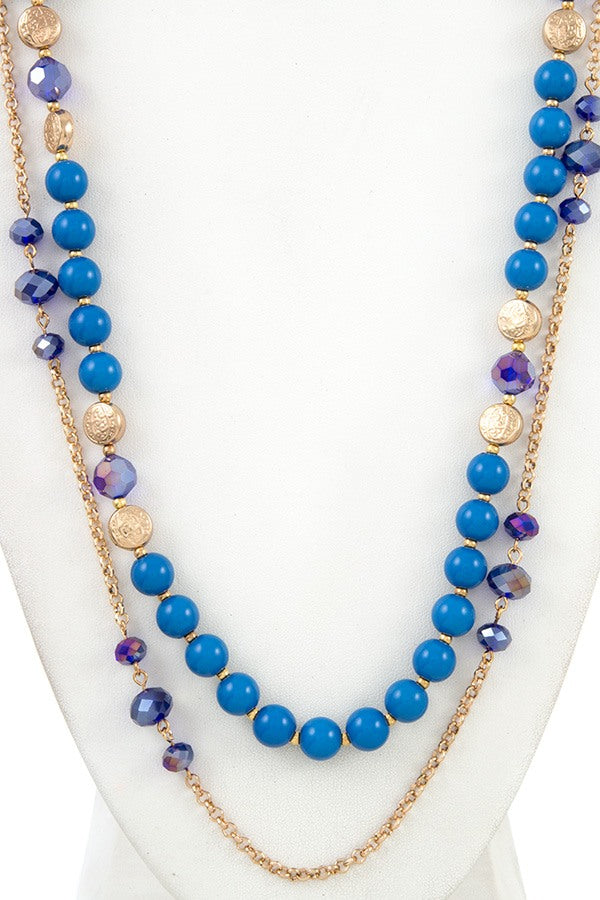Elongated mix bead chain necklace set