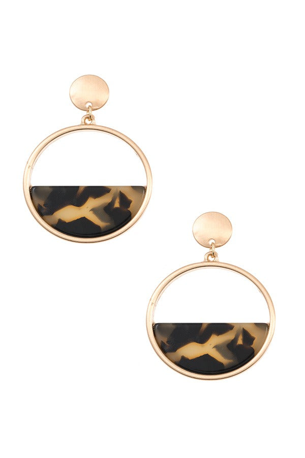 Half acetate stone round dangle earring