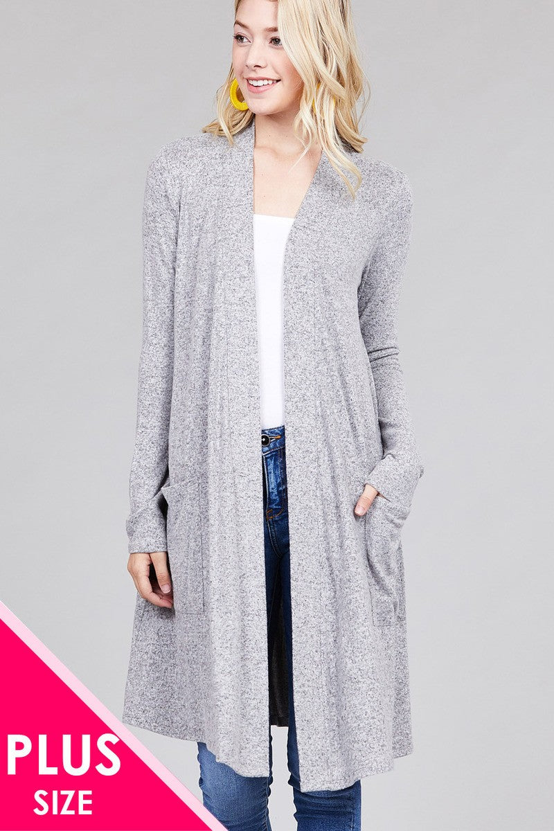 Ladies fashion plus size long sleeve open front w/pocket brushed hacci cardigan