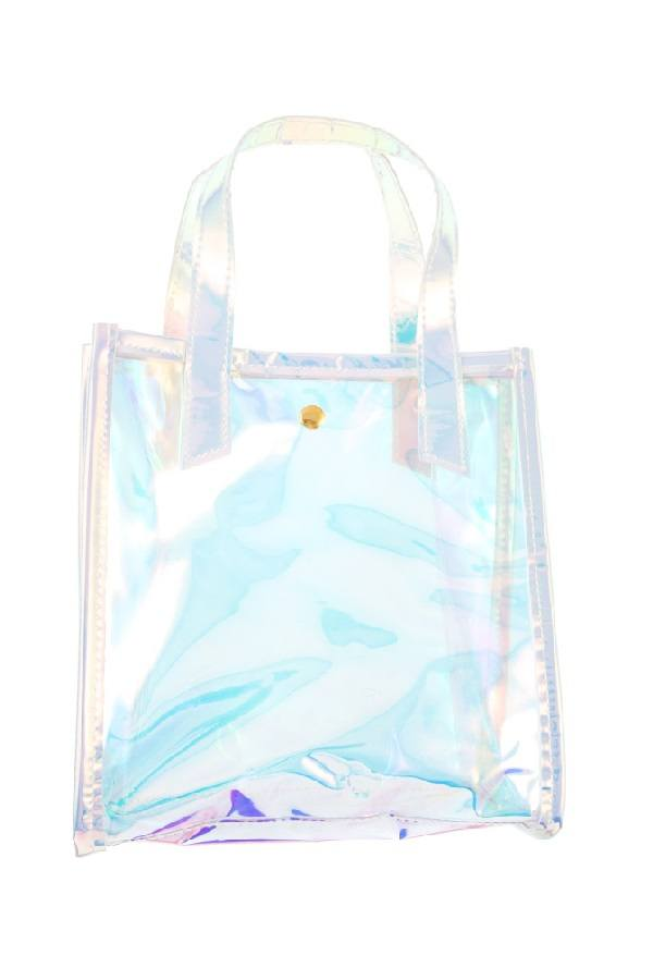 Holographic see through mini tote