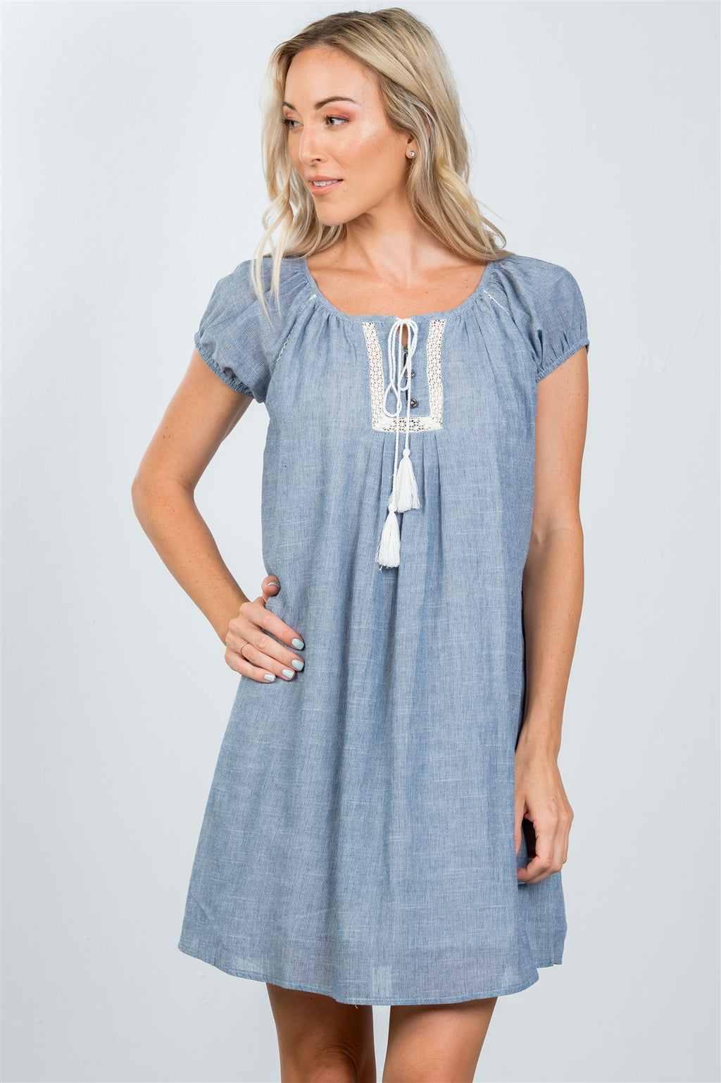 Ladies fashion tassel-tie boho shift dress