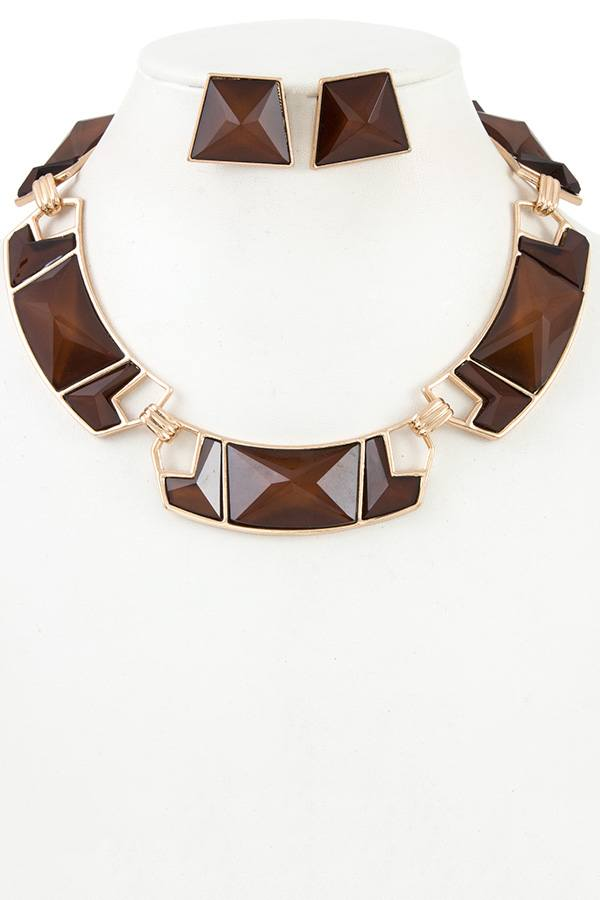 Faceted geo shape link necklace set