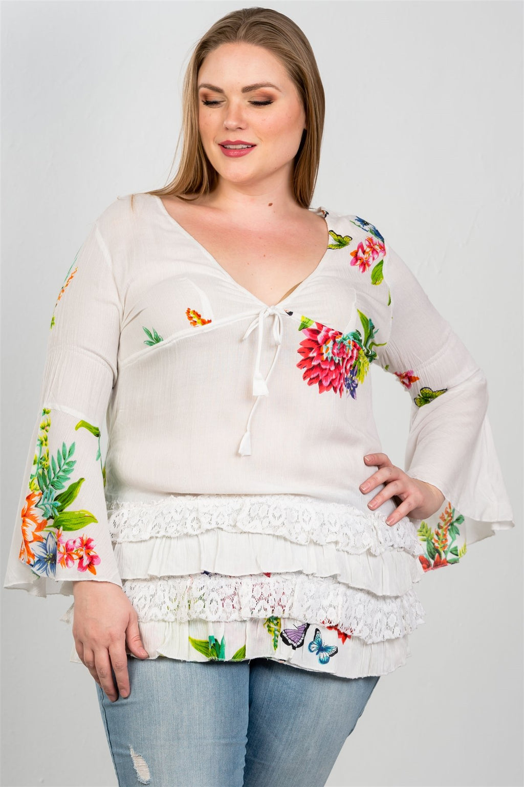Ladies fashion plus size boho floral mix print lace ruffle hem top