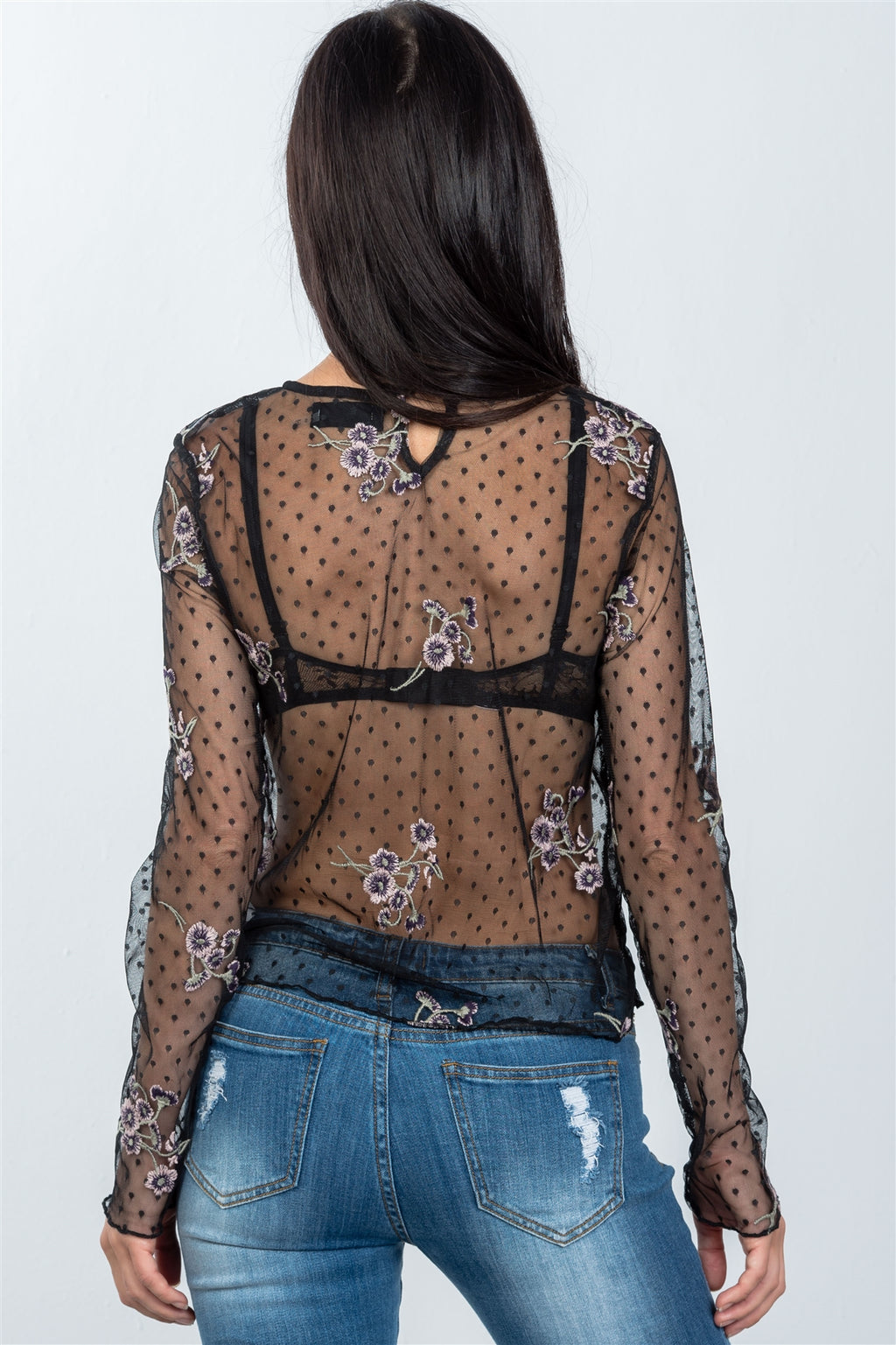 Ladies fashion floral embroidered sheer polka dot boho top