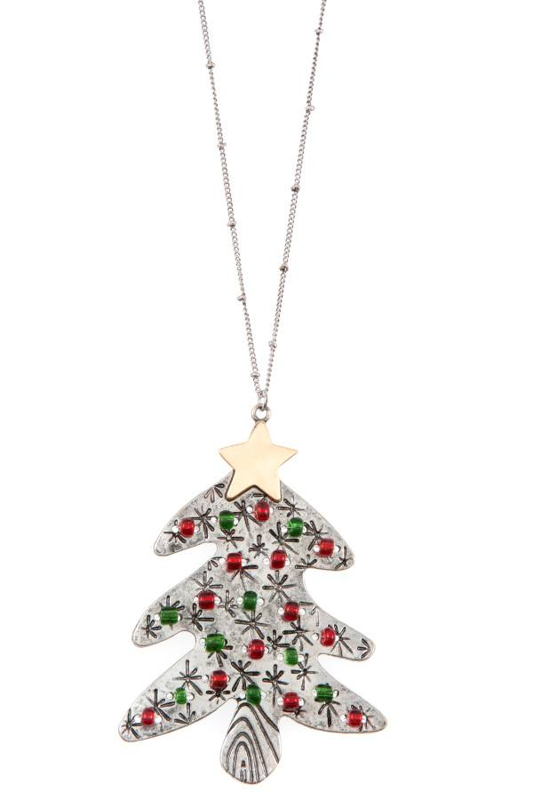 Beaded christmas tree long necklace set