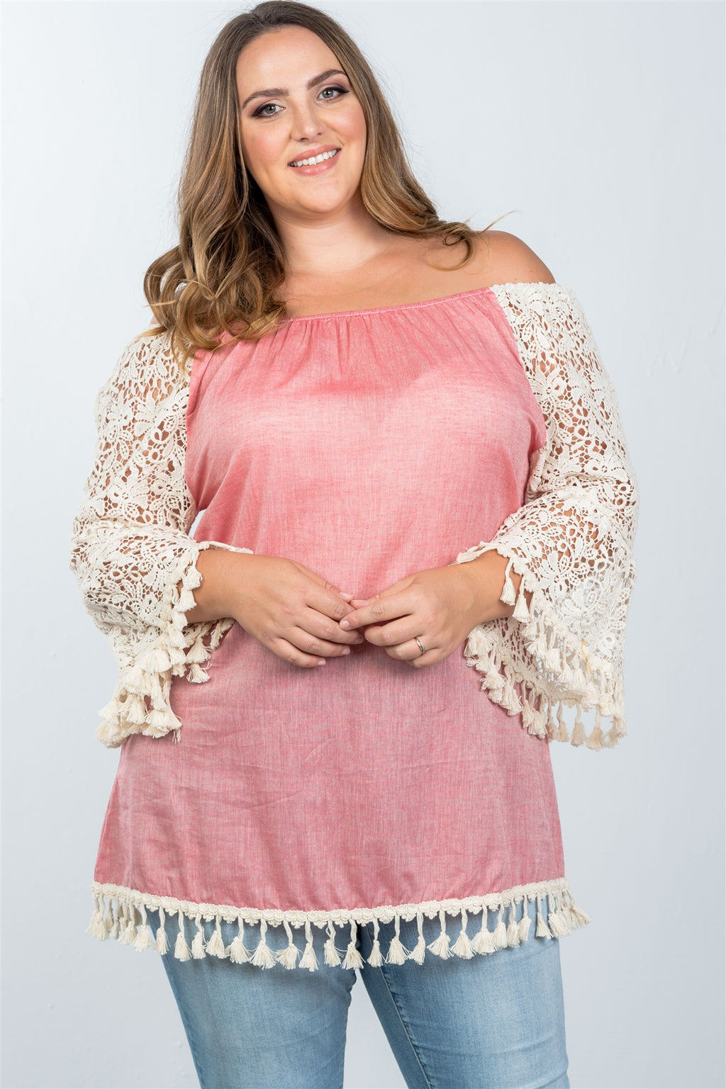 Ladies fashion plus size boho off the shoulder tassel top