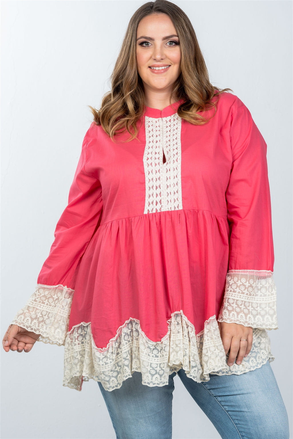 Ladies fashion plus size boho contrast lace trim babydoll tunic top