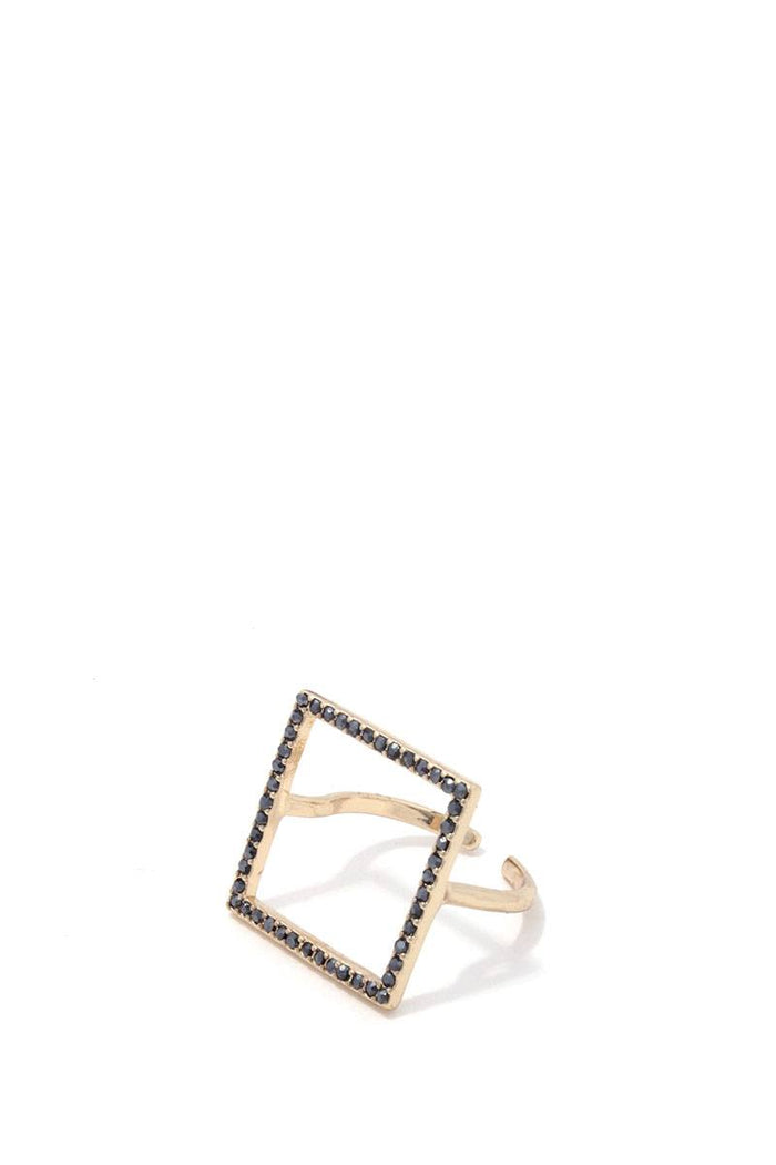 Square rhinestone brass ring
