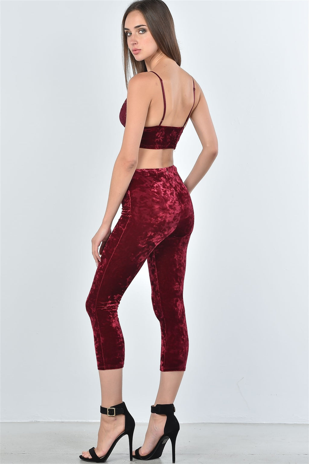 Ladies fashion velvet lace crop top and calf-length pants two piece set