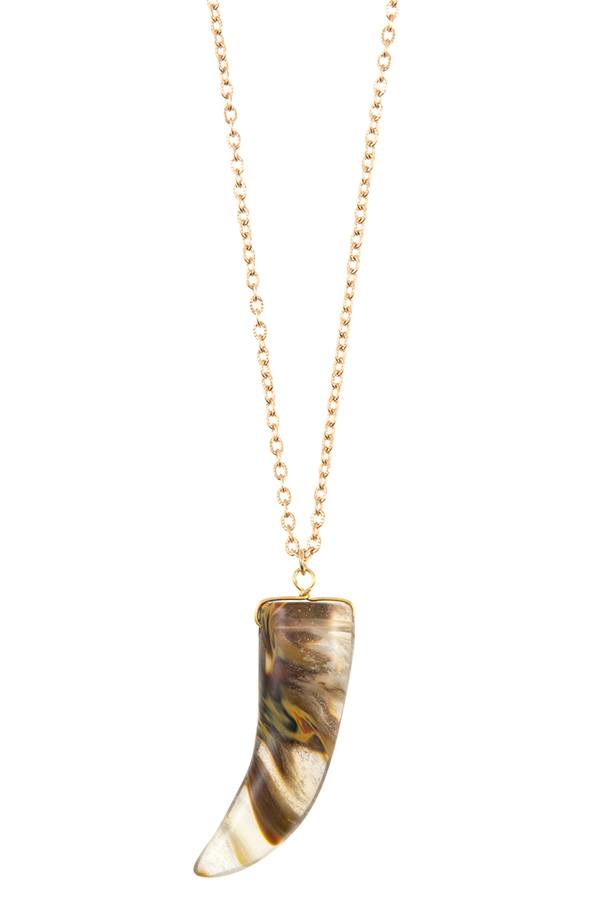 Elongated single horn pendant necklace