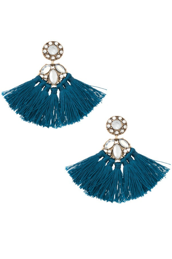 Crystal gem tassel drop earring