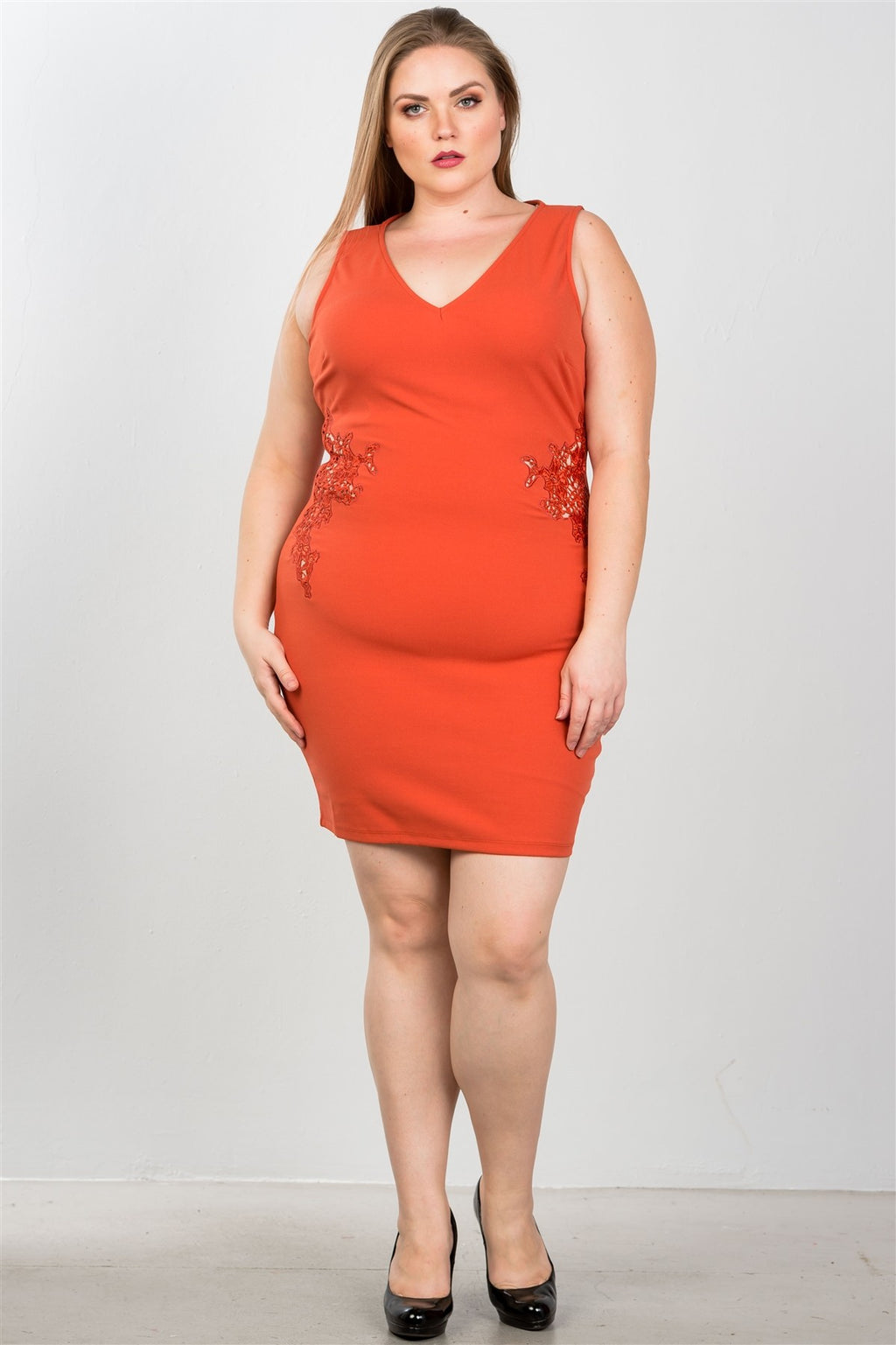 Ladies fashion plus size sexy ginger crochet side cut out mini dress