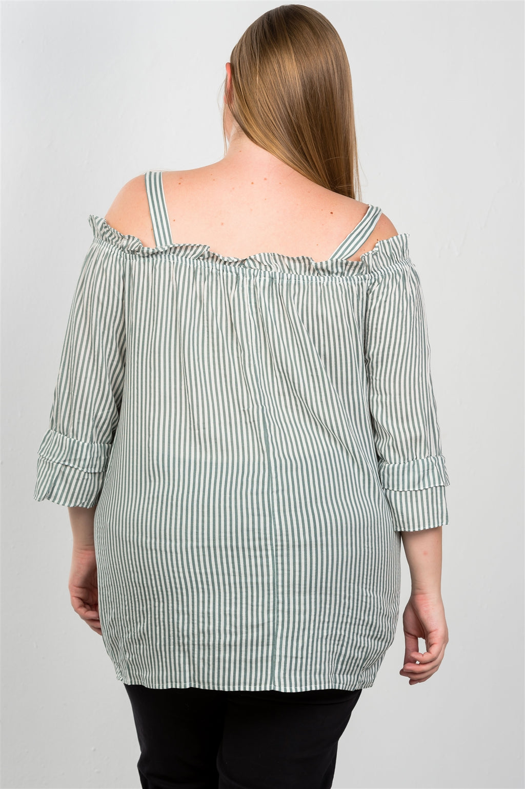 Ladies fashion plus size boho striped cold-shoulder top