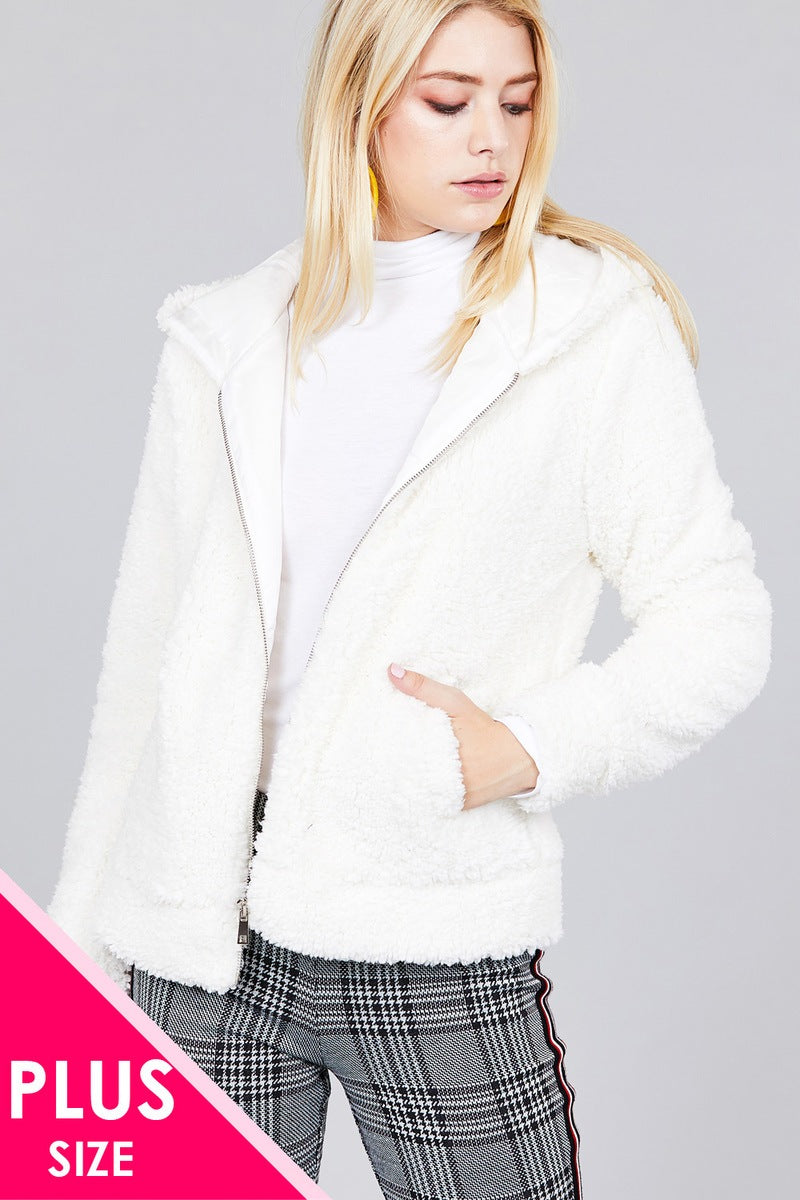 Ladies fashion plus size hoodie side pocket faux fur zip-up jacket