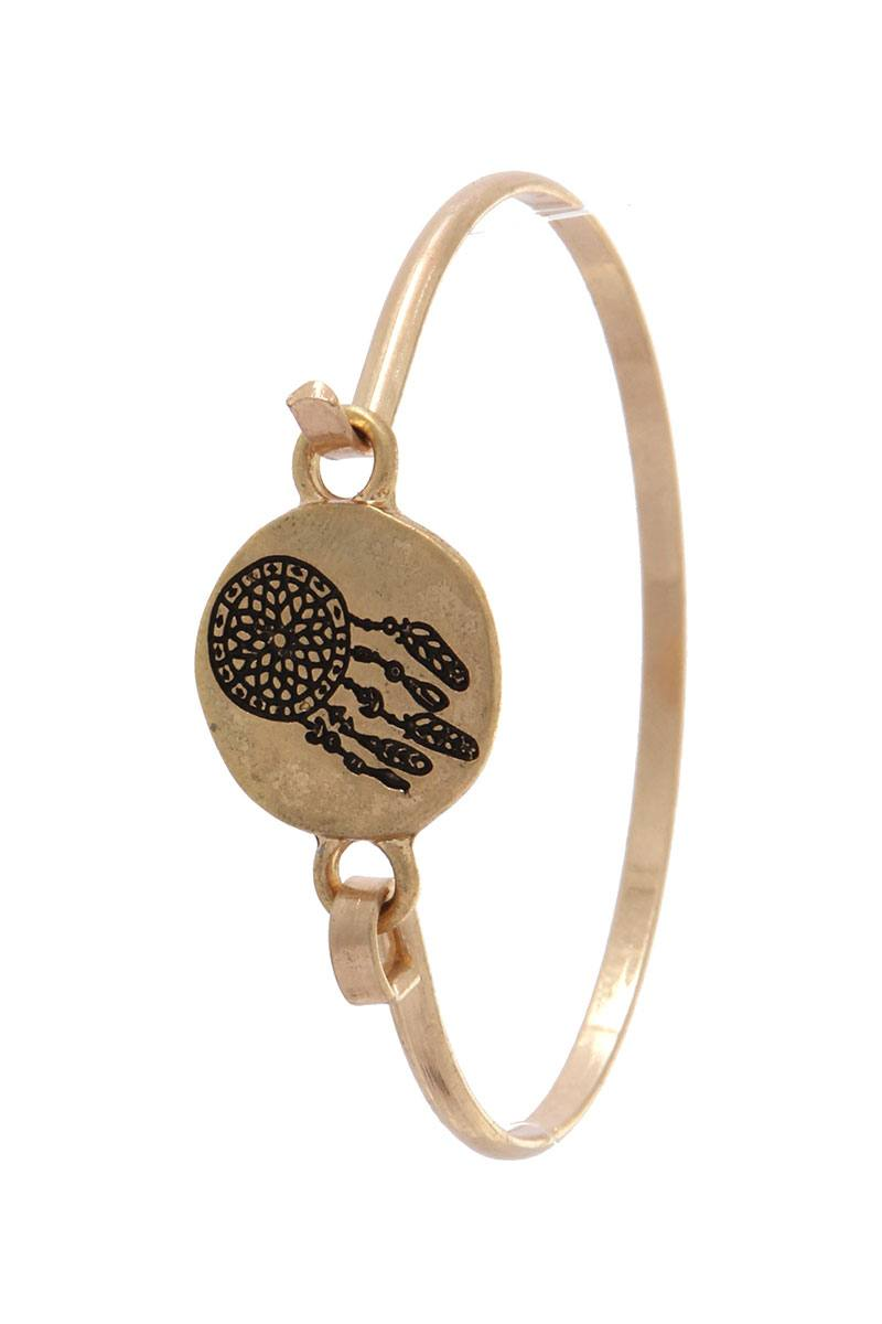 Dream catcher engraved cuff bracelet