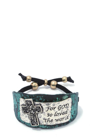"""for god so loved the world"" engraved adjustable bracelet"