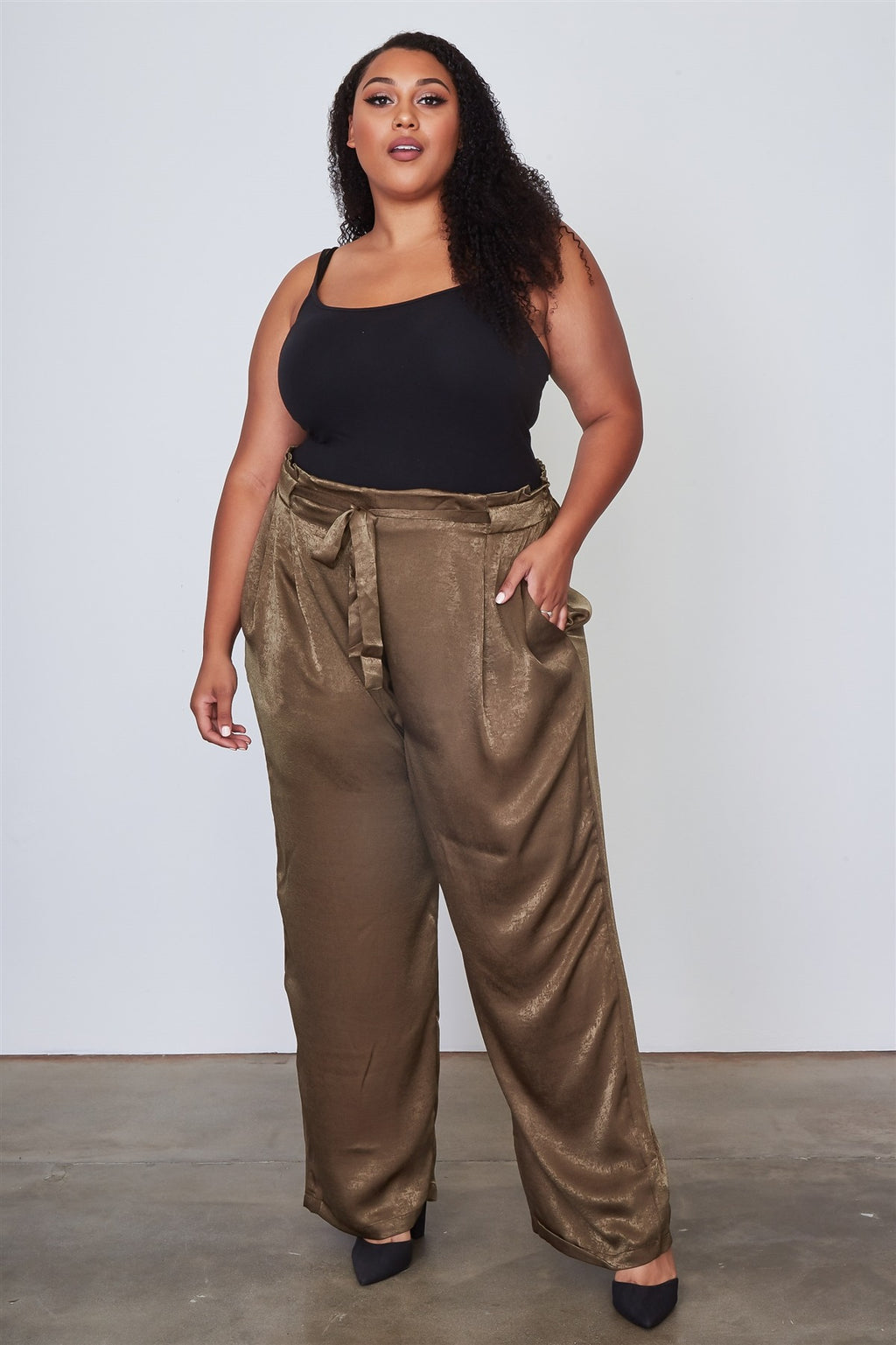 Ladies fashion plus size frill waist belted pants