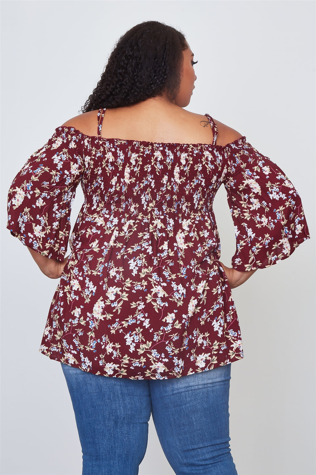 Ladies fashion plus size floral print shirred bust cold shoulder top