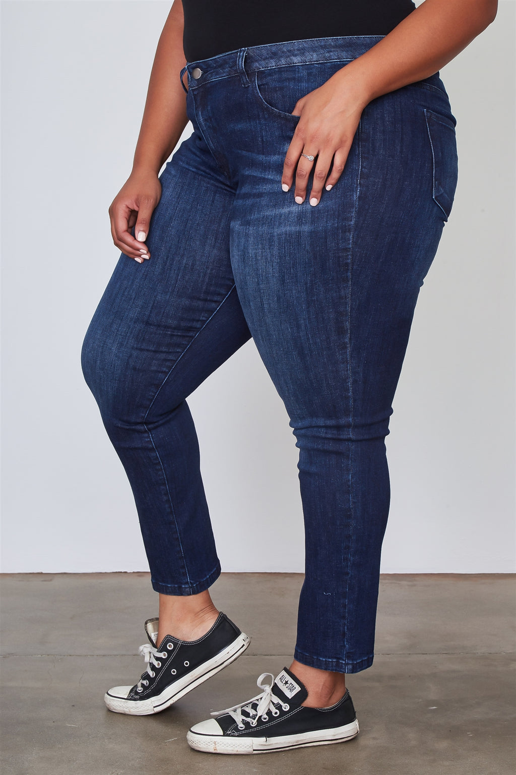 Ladies fashion plus size dark denim ankle length skinny jeans