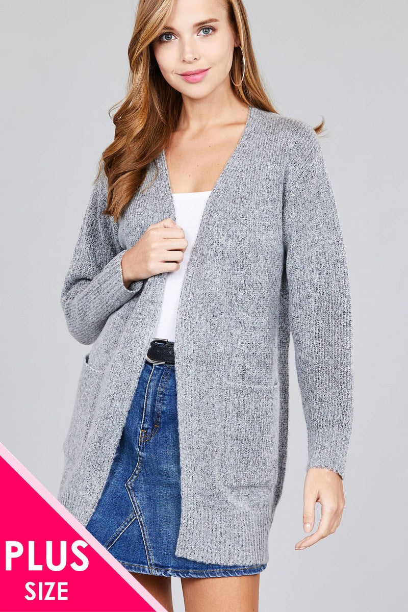 Ladies fashion plus size long sleeve open front w/pocket tunic sweater cardigan