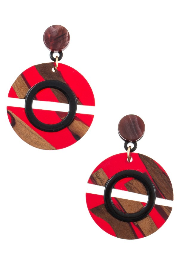 Wood and acetate circle drop earring