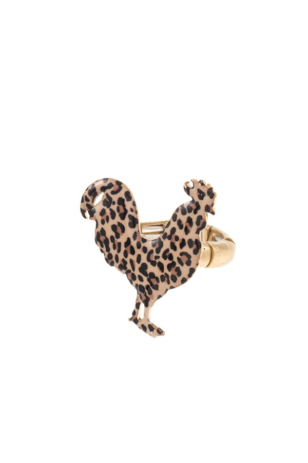 Animal print chicken ring