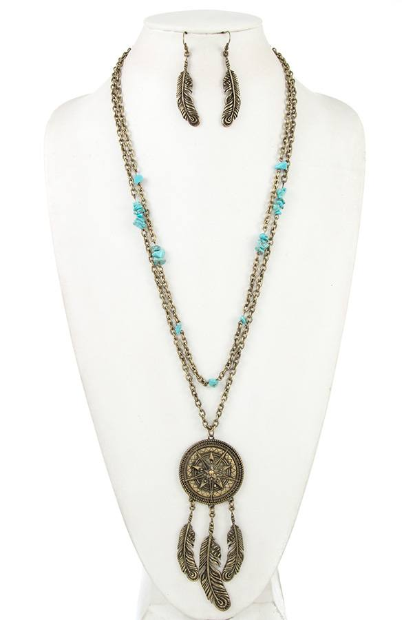 Dream catcher gemstone bead necklace set