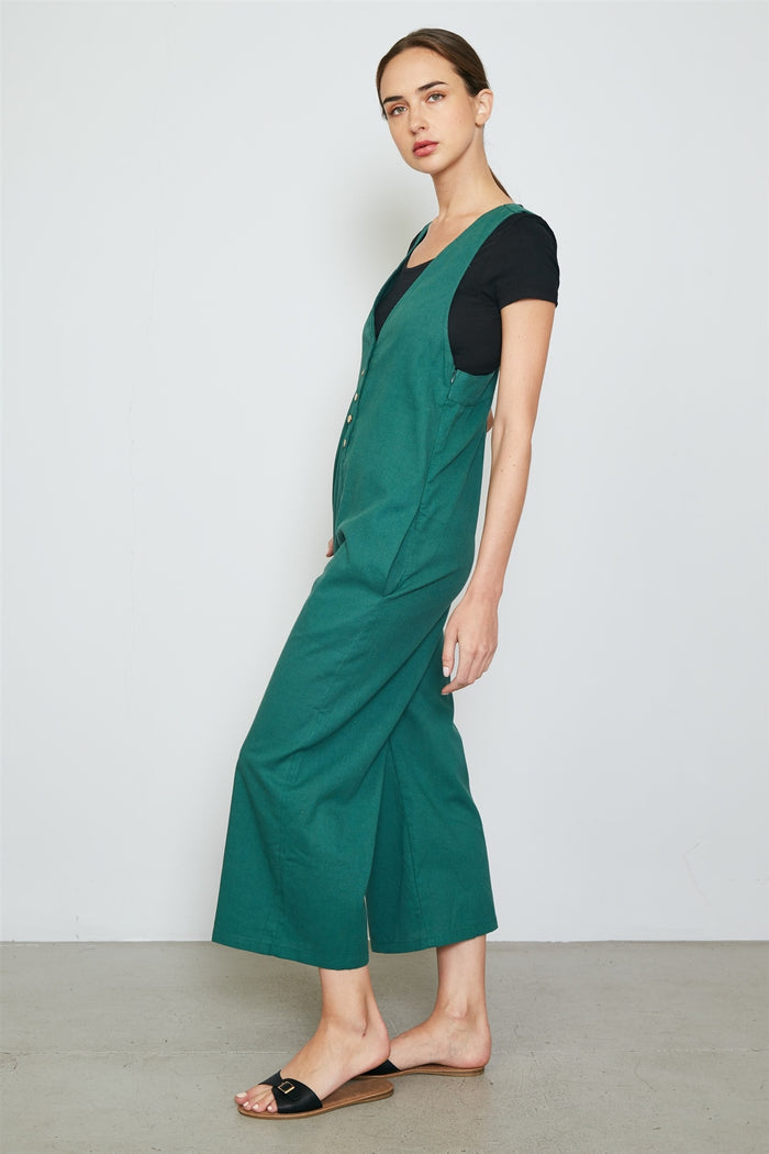 Ladies fashion double v neck wide leg jumpsuit