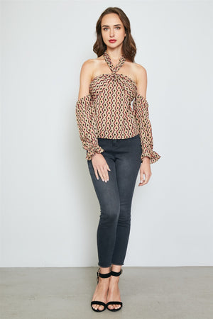 Ladies fashion geo print off the shoulder top