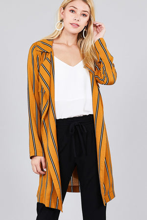 Ladies fashion long sleeve notched collar w/waist belt multi striped long woven jacket