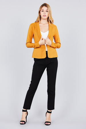 Ladies fashion long sleeve notched collar princess seam w/back slit jacket
