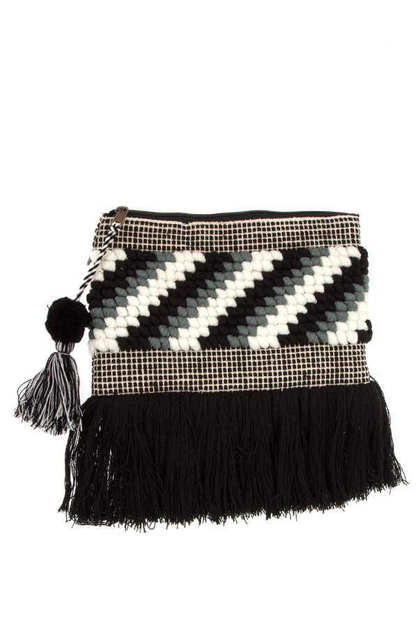Diagonal pattern fringe bottom clutch bag