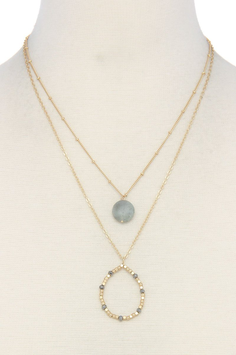 Beaded teardrop shape layered necklace