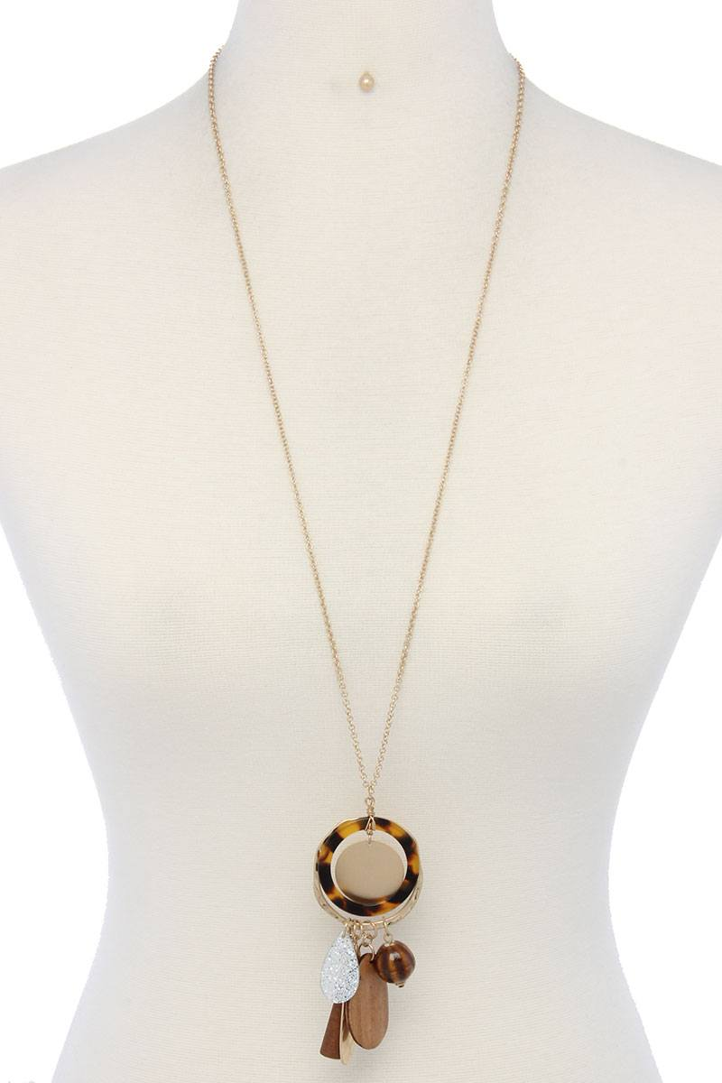 Hammered long teardrop shape acetate ring pendant necklace