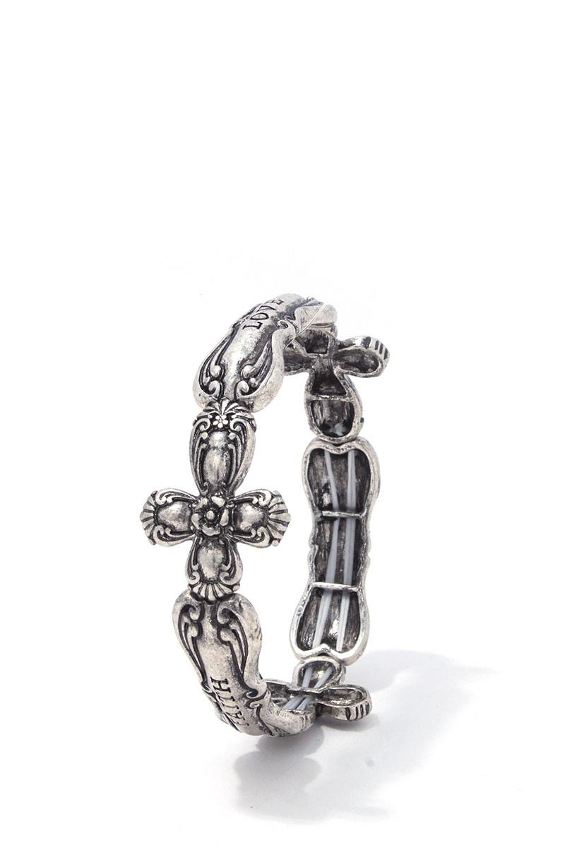 Cross quoted stretch bracelet
